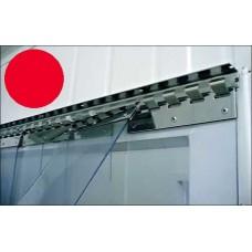 Lamelové clony - PVC závěsy - 200x2mm červené průsvitné PVC pásy typ normál - překrytí na jeden hák - 35% - 3,5cm - cena na bázi m2