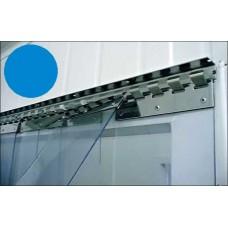 Lamelové clony - PVC závěsy - 200x2mm modré průsvitné PVC pásy typ normál - překrytí na jeden hák - 35% - 3,5cm - cena na bázi m2