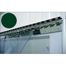 Lamelové clony - PVC závěsy - 200x2mm tmavozelené průsvitné PVC pásy typ normál - překrytí na jeden hák - 35% - 3,5cm - cena na bázi m2