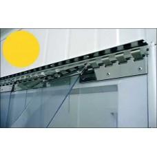 Lamelové clony - PVC závěsy - 200x2mm žluté průsvitné insekticidní PVC pásy typ normál - překrytí na jeden hák - 35% - 3,5cm - cena na bázi m2