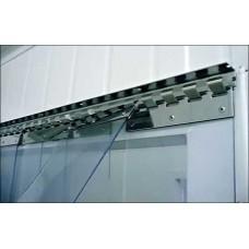 Lamelové clony - PVC závěsy - 200x3mm průsvitné PVC pásy typ normál - překrytí na jeden hák - 35% - 3,5cm - cena na bázi m2