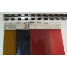 Svařovací závěsy - svářečské lamelové clony - 300x2mm svářečské PVC pásy červené s UV filtrem - překrytí na jeden hák - 33,3% - 5cm - cena na bázi m2